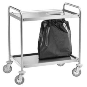 Chariot en acier inox avec trous pour sac-poubelle