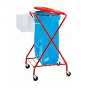 Chariot porte-sac  poubelle verni rouge
