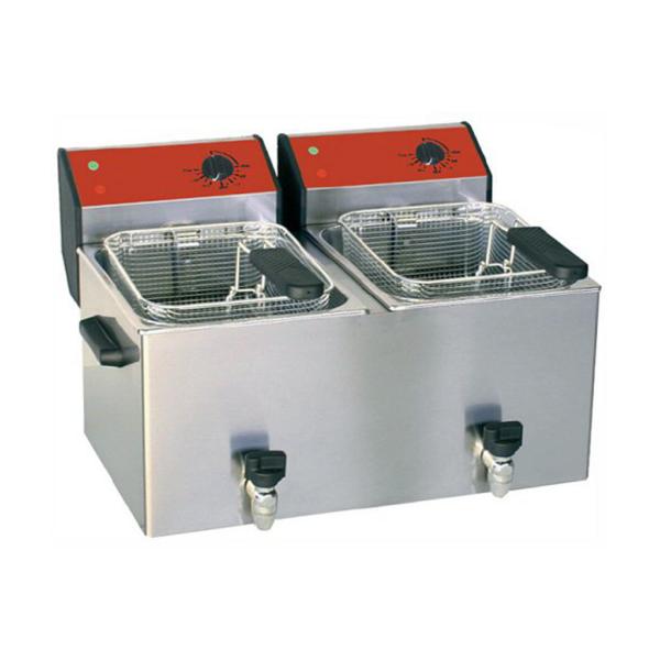 Friteuse électrique 8+8 L avec robinet