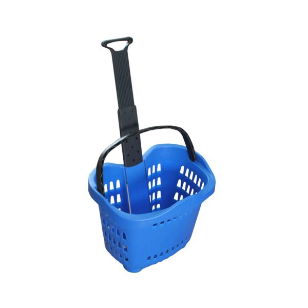 Panier à provisions en plastique coloré de roulement avec les roues