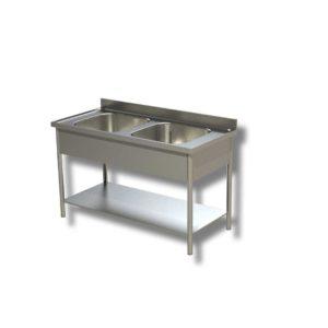 Plonge 02 Bacs avec étagère intermédiaire sans égouttoirs 1200*600*850